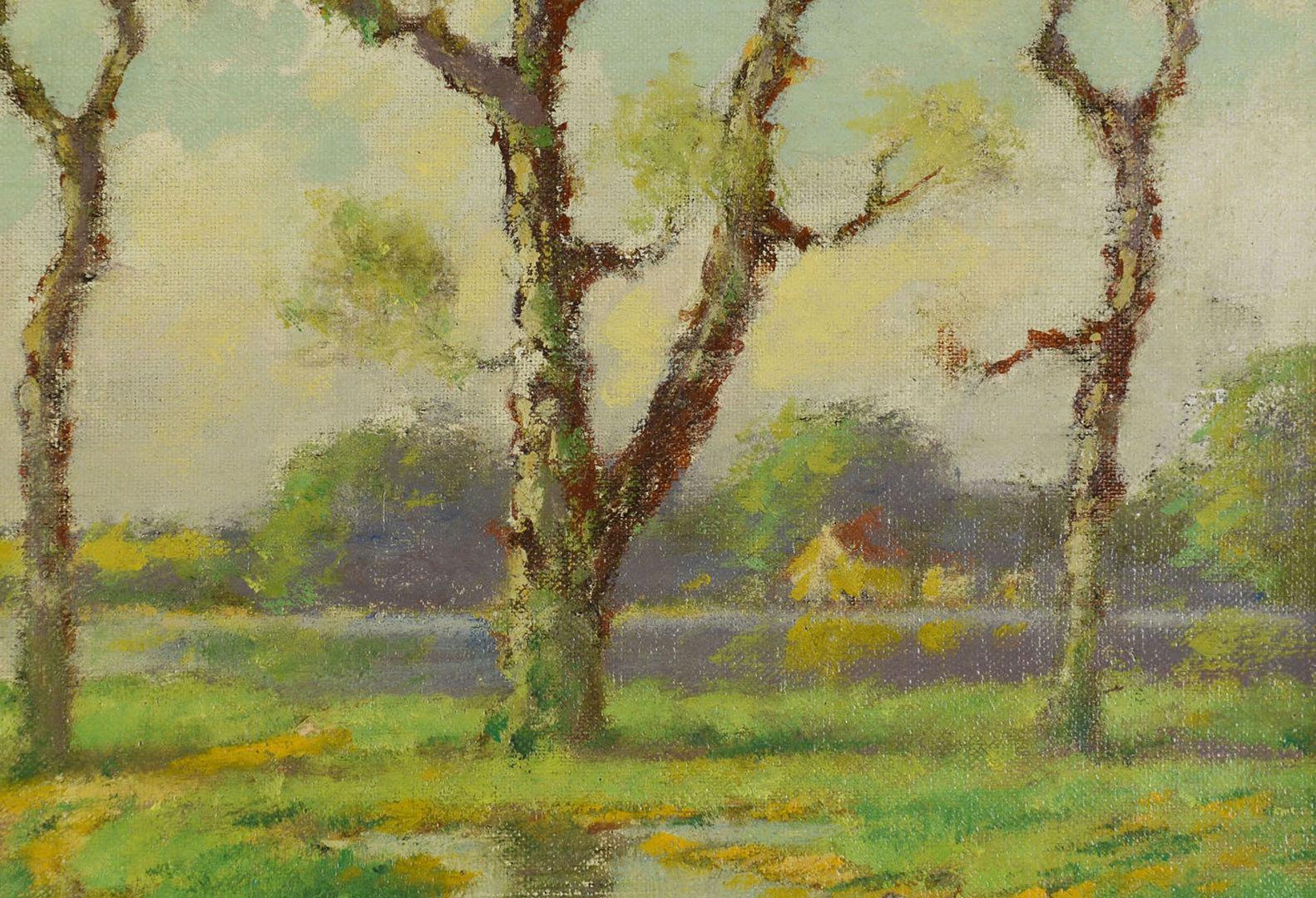 Lot 39: Benson Bond Moore oil on board, April Landscape