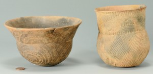 Lot 400: 2 Caddo Incised and Engraved Vessels, Jar and Bowl