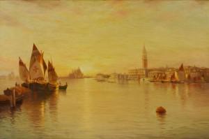 Lot 40: Warren Sheppard Oil on Canvas, Venice Grand Canal