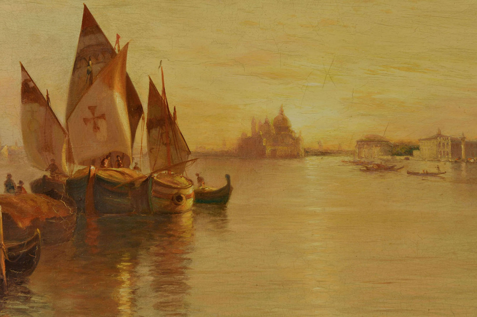 Lot 40: Warren Sheppard Oil on Canvas, Venice Grand Canal