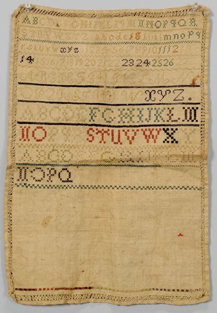 Lot 415: Antique needlework sampler, probably Alabama