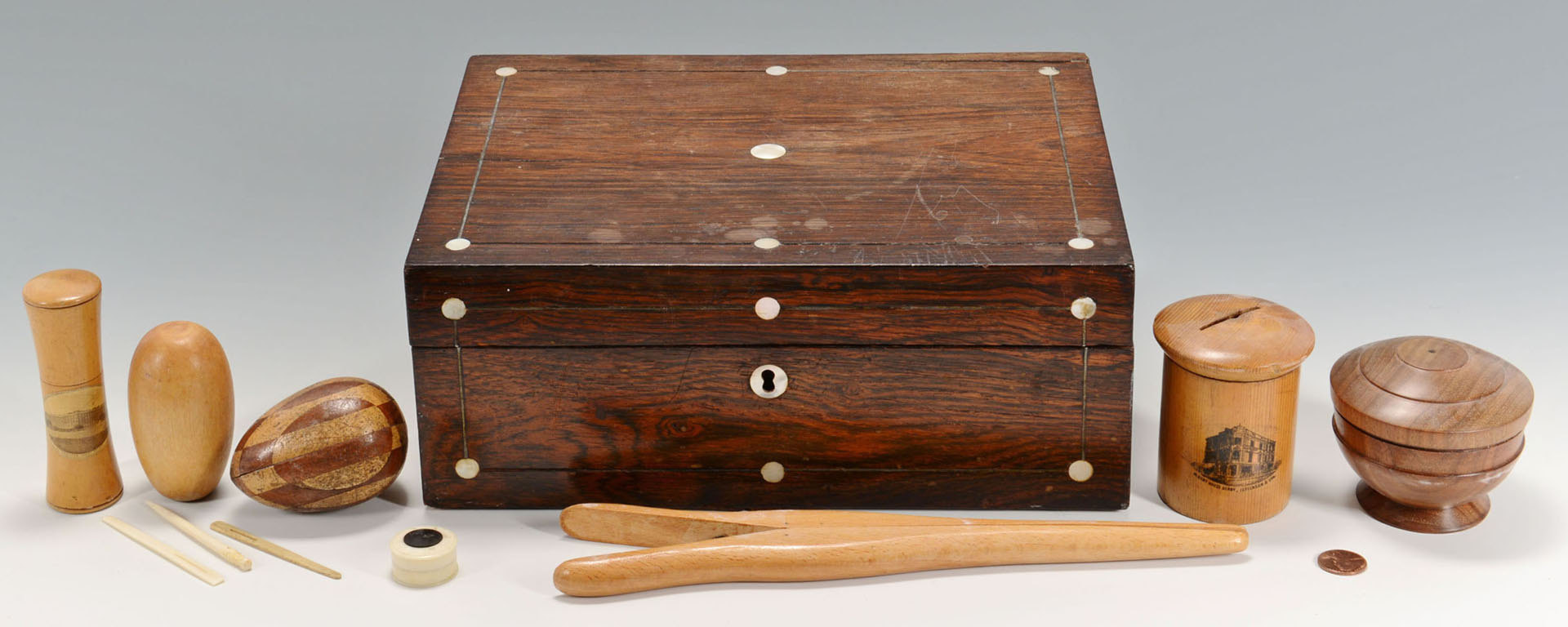 Lot 416: Victorian sewing box w/ ivory, treen & mauchline