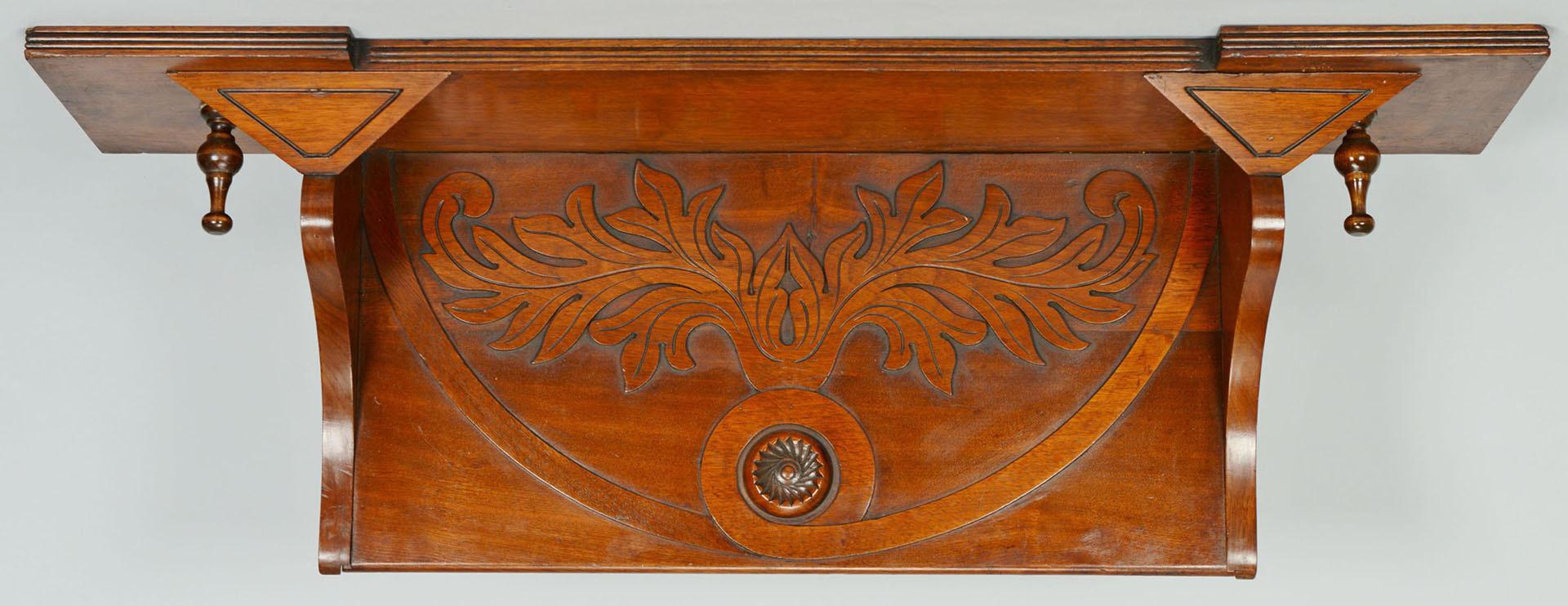 Lot 423: Carved Aesthetic Movement Walnut Hanging Shelf