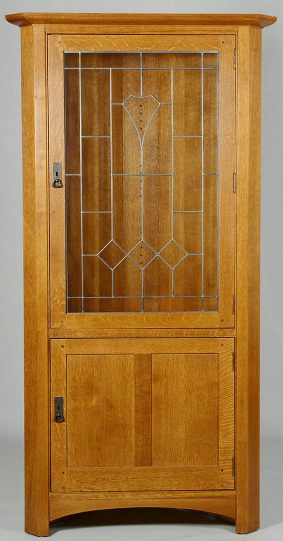 Lot 432: Contemporary Stickley Oak Corner Cupboard
