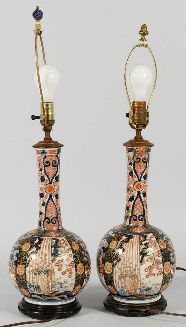 Lot 437: Pair of Imari Lamps