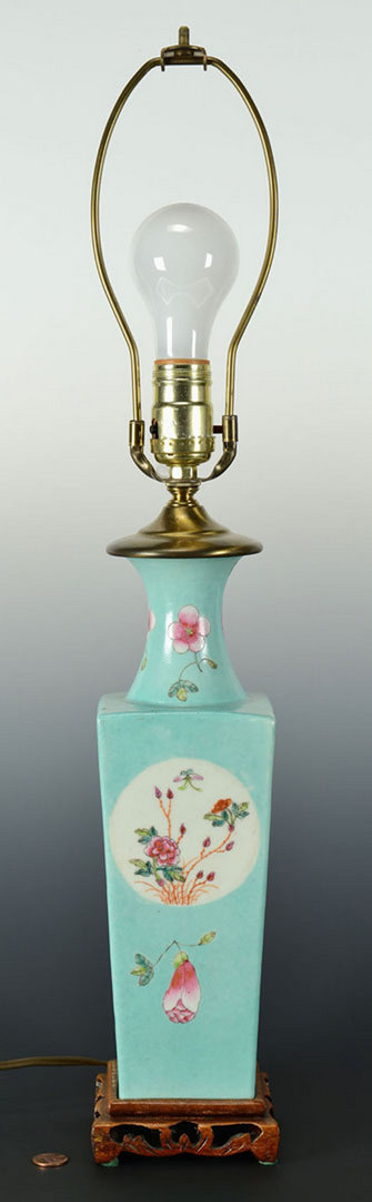 Lot 438: Famille Rose Vase, drilled as Lamp