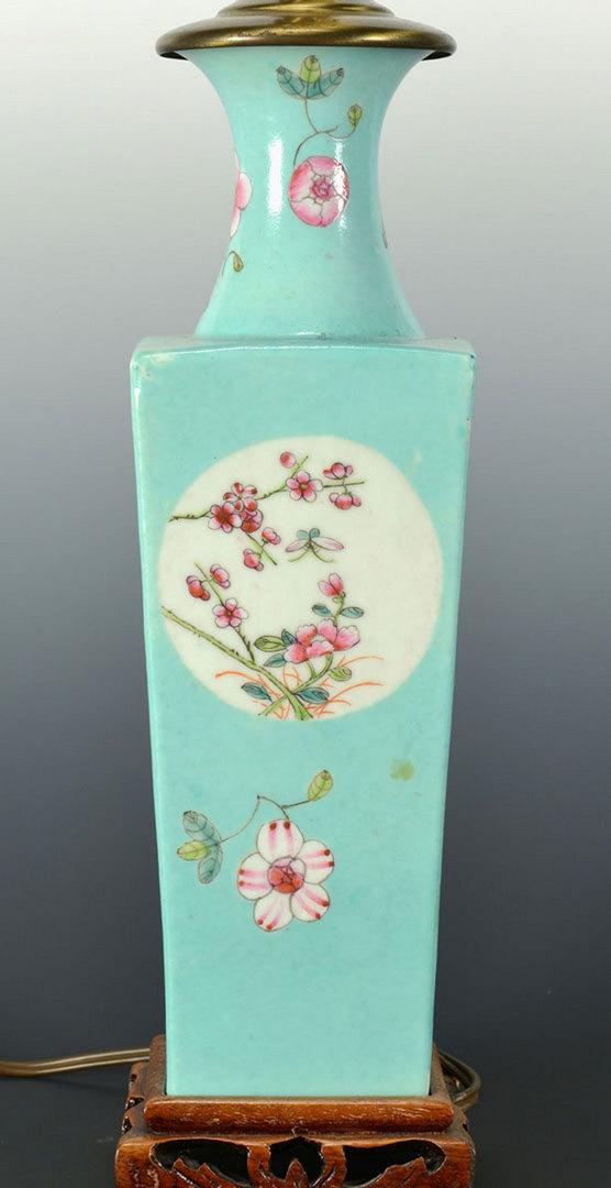Lot 438: Famille Rose Vase, drilled as Lamp
