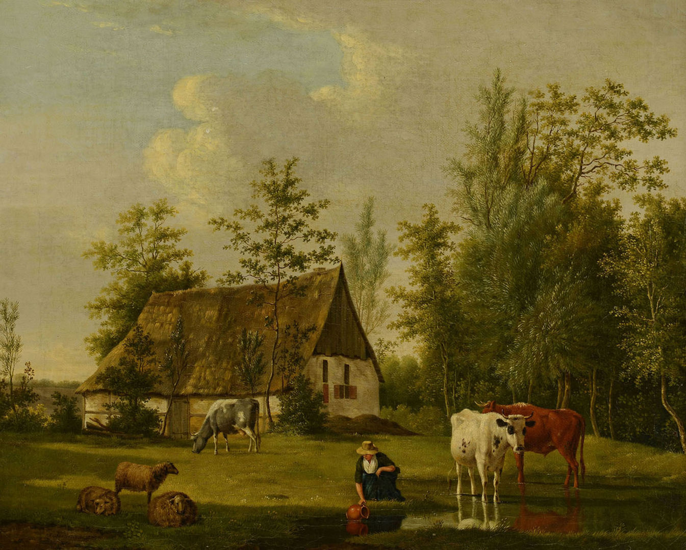 Lot 43: Anthony Oberman Pastoral Landscape with Homestead