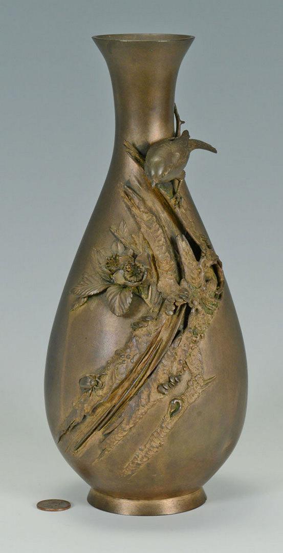 Lot 442: Bronze Meiji Vase & Peking Glass Snuff Bottle