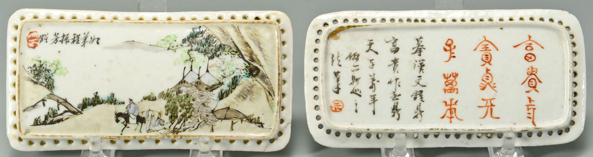 Lot 450: 6 pcs Chinese porcelain desk or scholar's objects