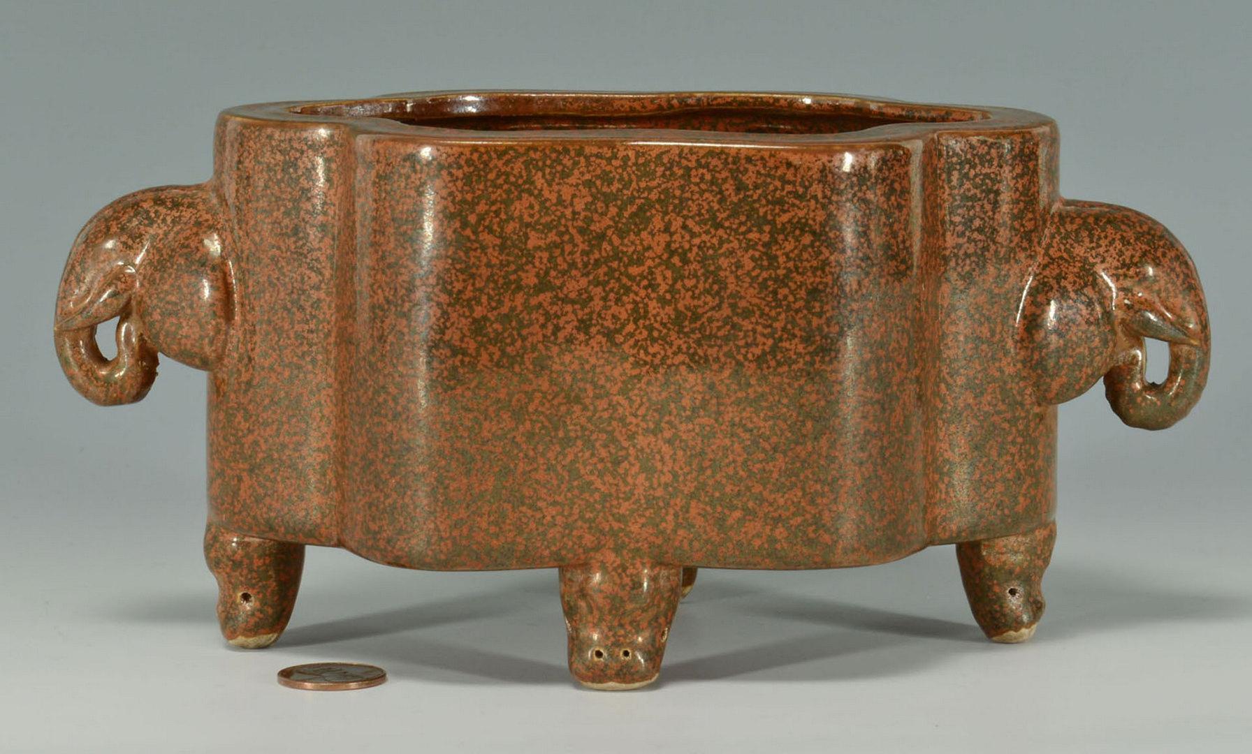 Lot 451: Chinese Bulb Bowl & Pair Claire de Lune Vases