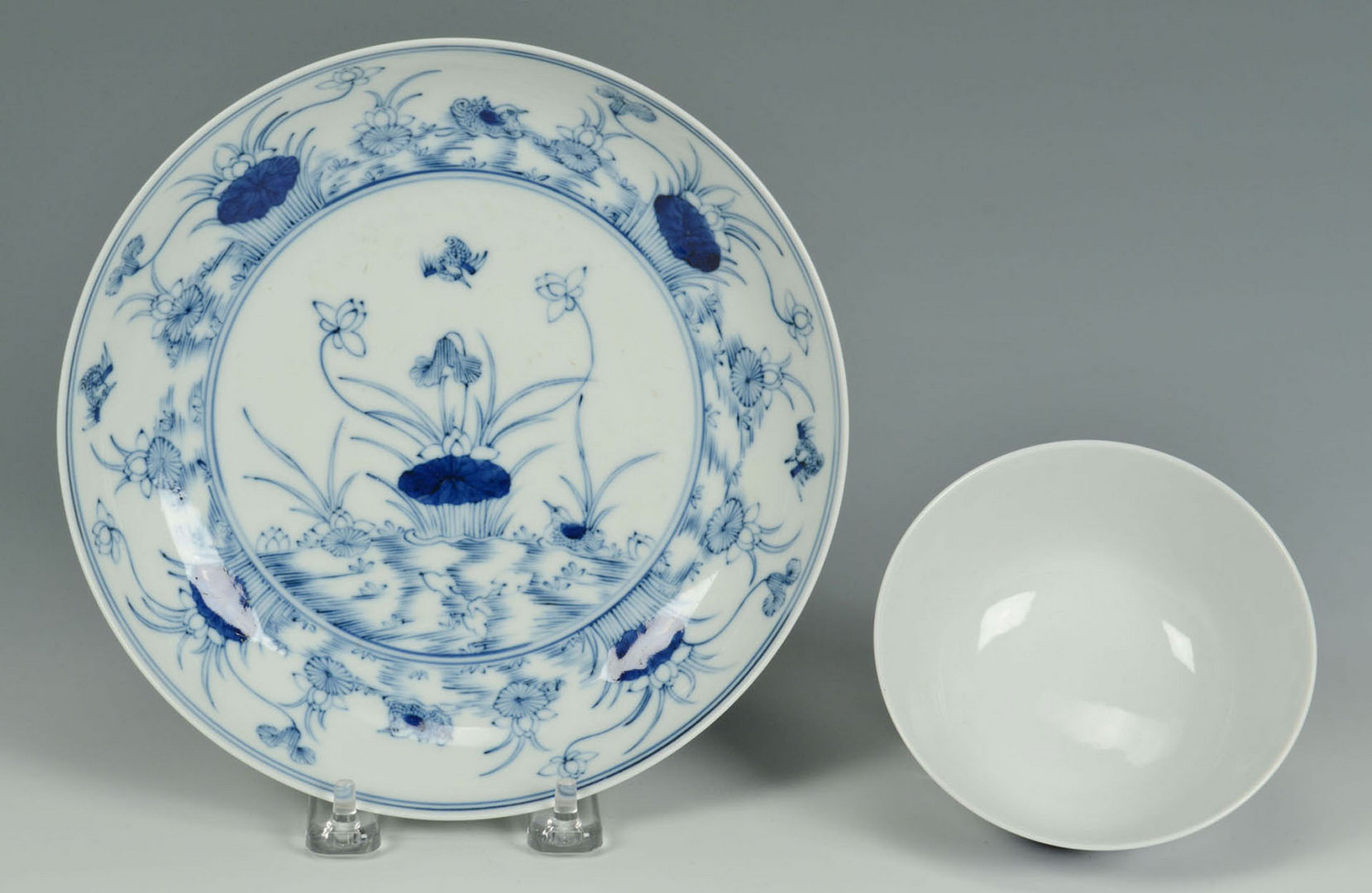 Lot 453: 2 Chinese Blue & White Porcelain Bowls