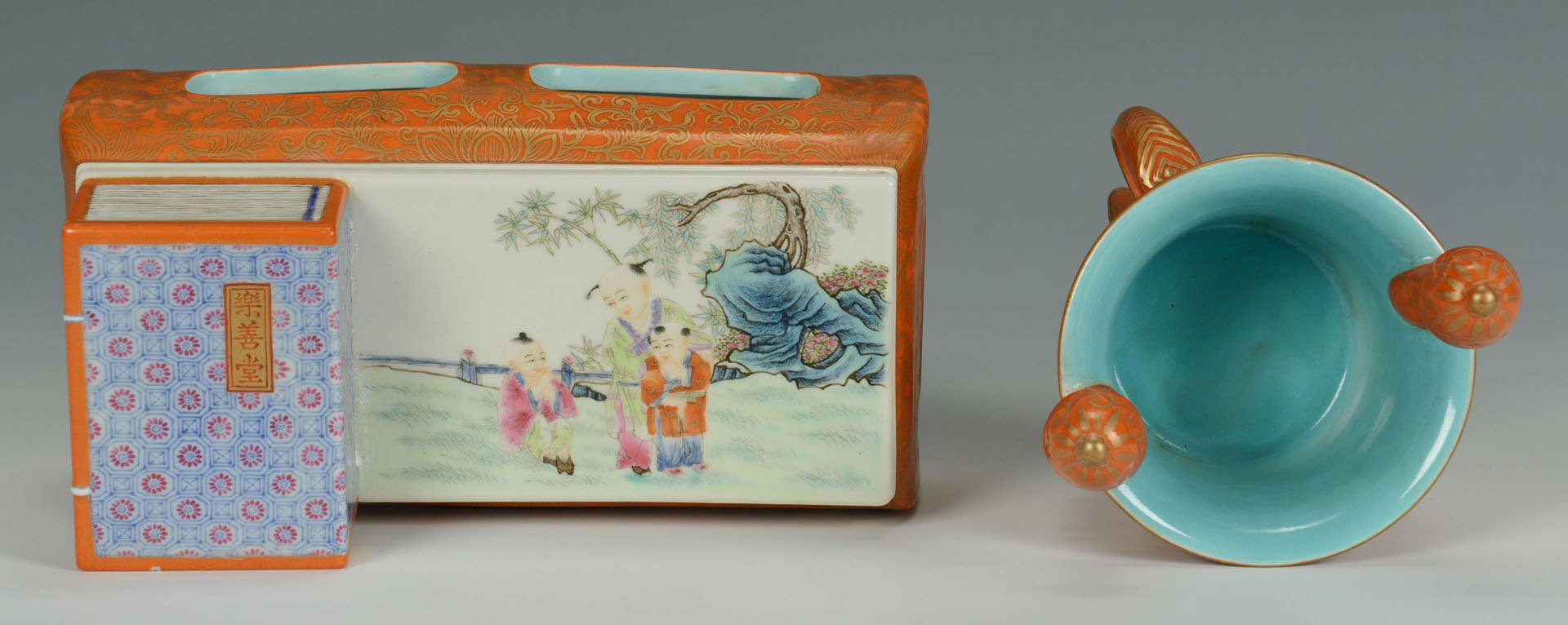 Lot 454: 2 Chinese Porcelain Items, Box & Tripod Cup