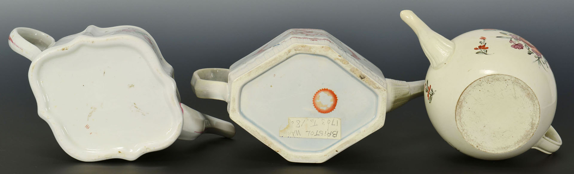 Lot 462: 3 English teapots including pearlware, creamware