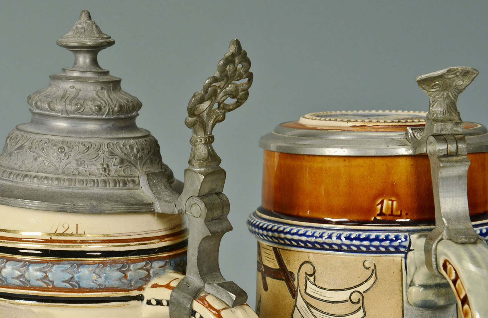 Lot 468: 2 German Pottery Steins