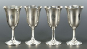 Lot 480: 4 Wallace Sterling Silver Goblets