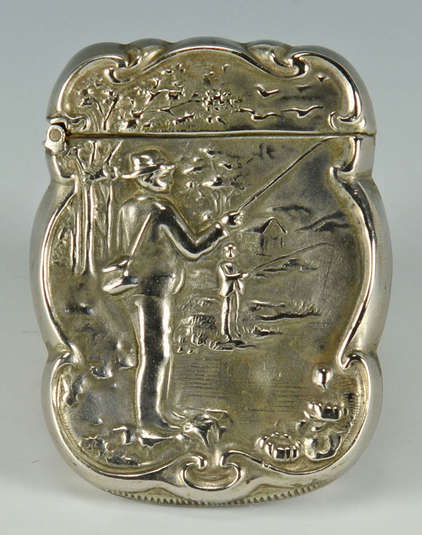 Lot 486: Sterling Match safe w/ Fly Fishing Scene