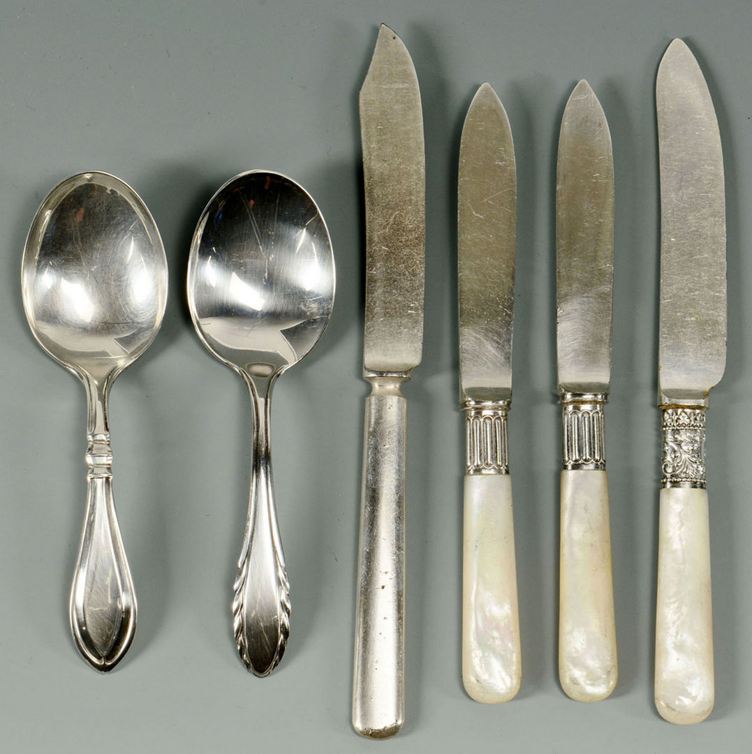 Lot 488: Group of Sterling & Silver plate Flatware, 13 pcs.