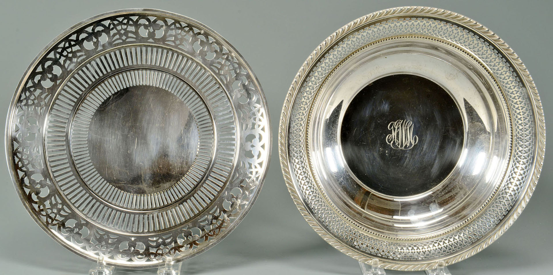 Lot 489: Silver Vegetable Dish w/ pierced border & Footed C