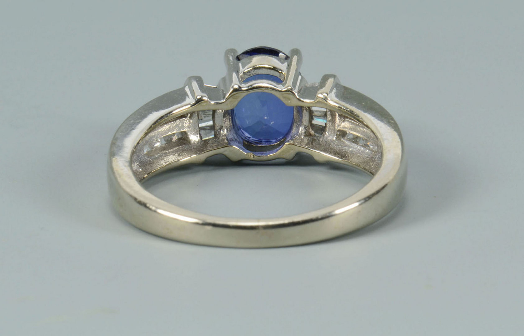 Lot 492: 10k Synthetic Sapphire and Diamond Ring