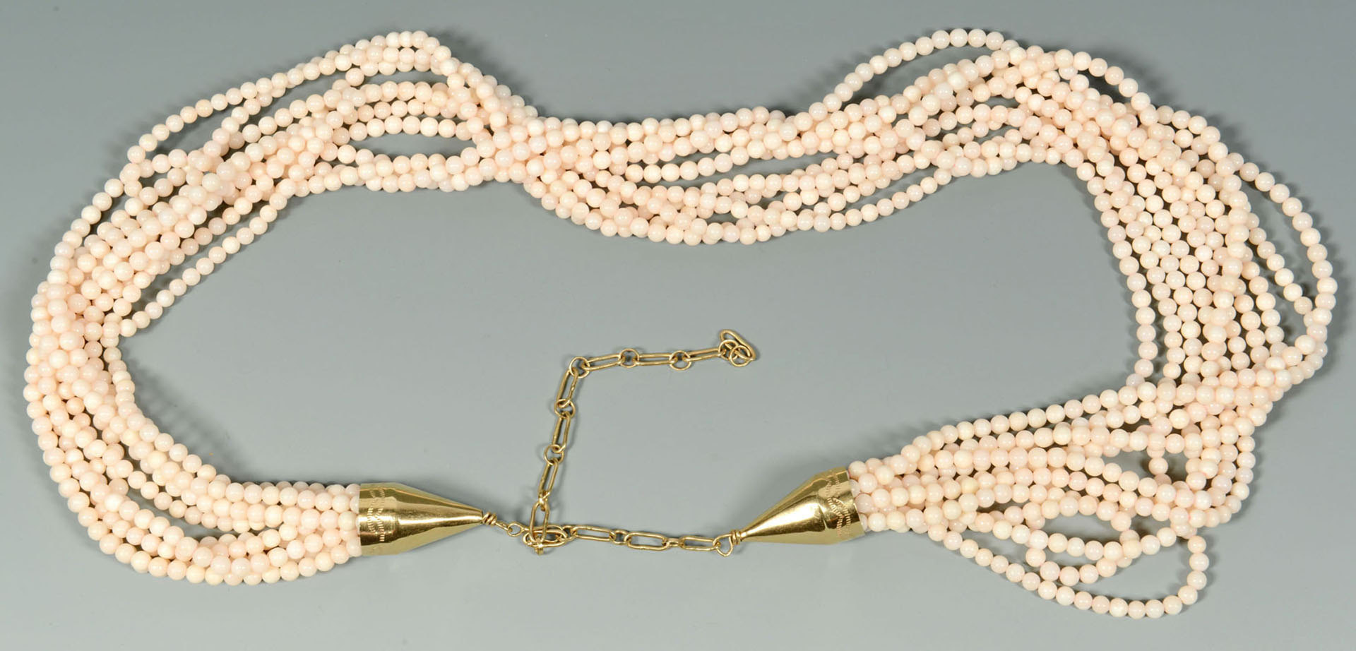 Lot 493: Angelskin Coral and 14K Gold Necklace