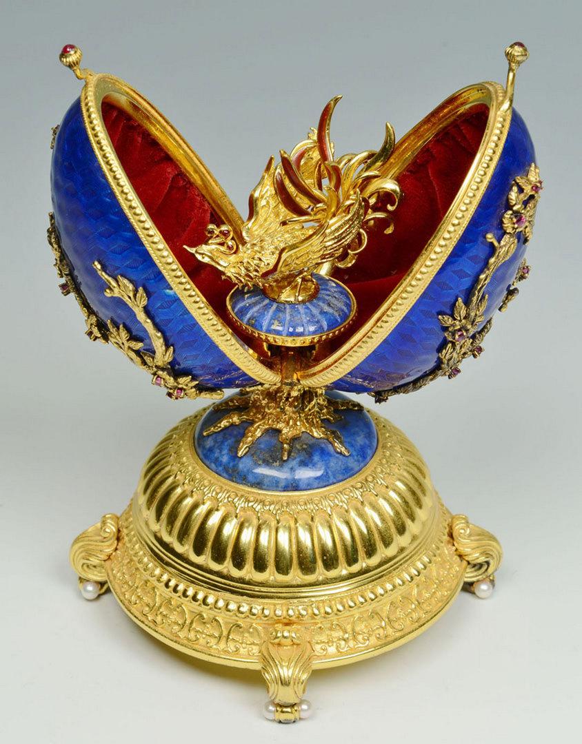 Lot 495: Sterling Gilt & Enamel Egg Musical Jewelry Box