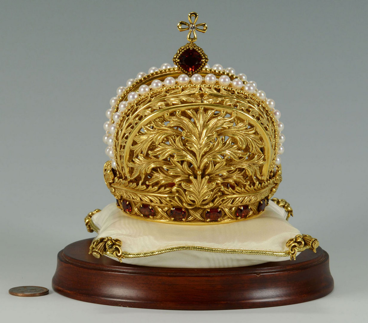 Lot 496: Sterling Gilt Crown with Faux Pearls and Red Stone