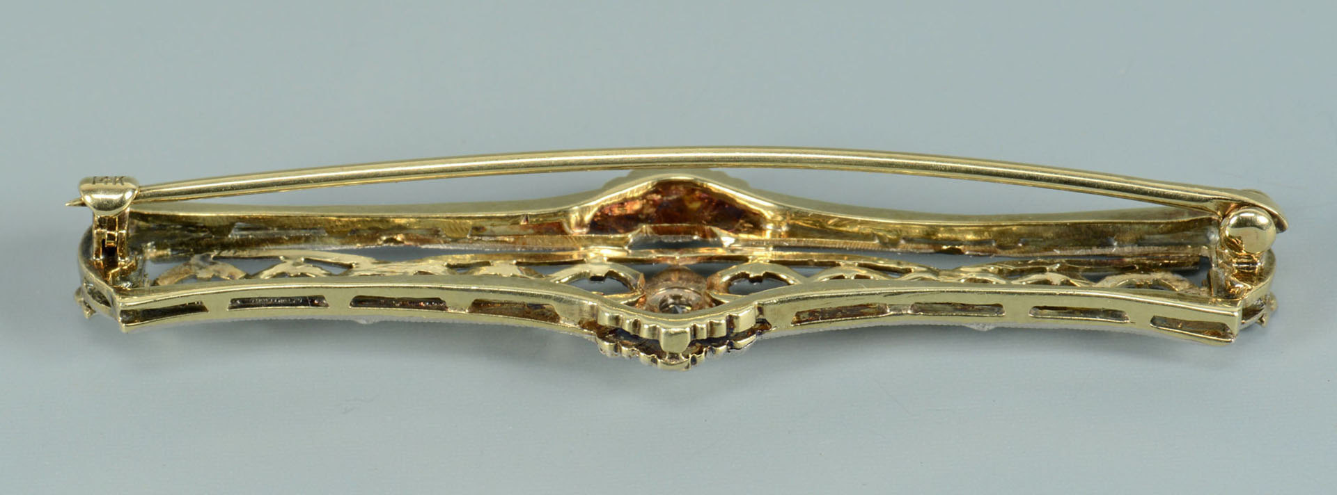 Lot 497: 14k Victorian style Diamond Bar Pin