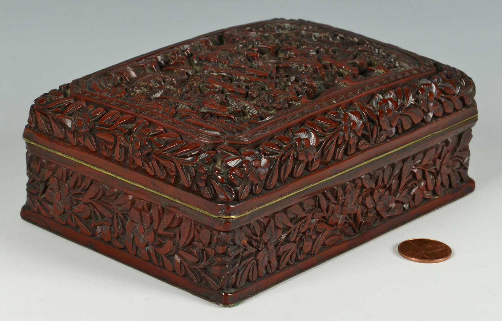 Lot 4: 19th century Carved Chinese Cinnabar Box