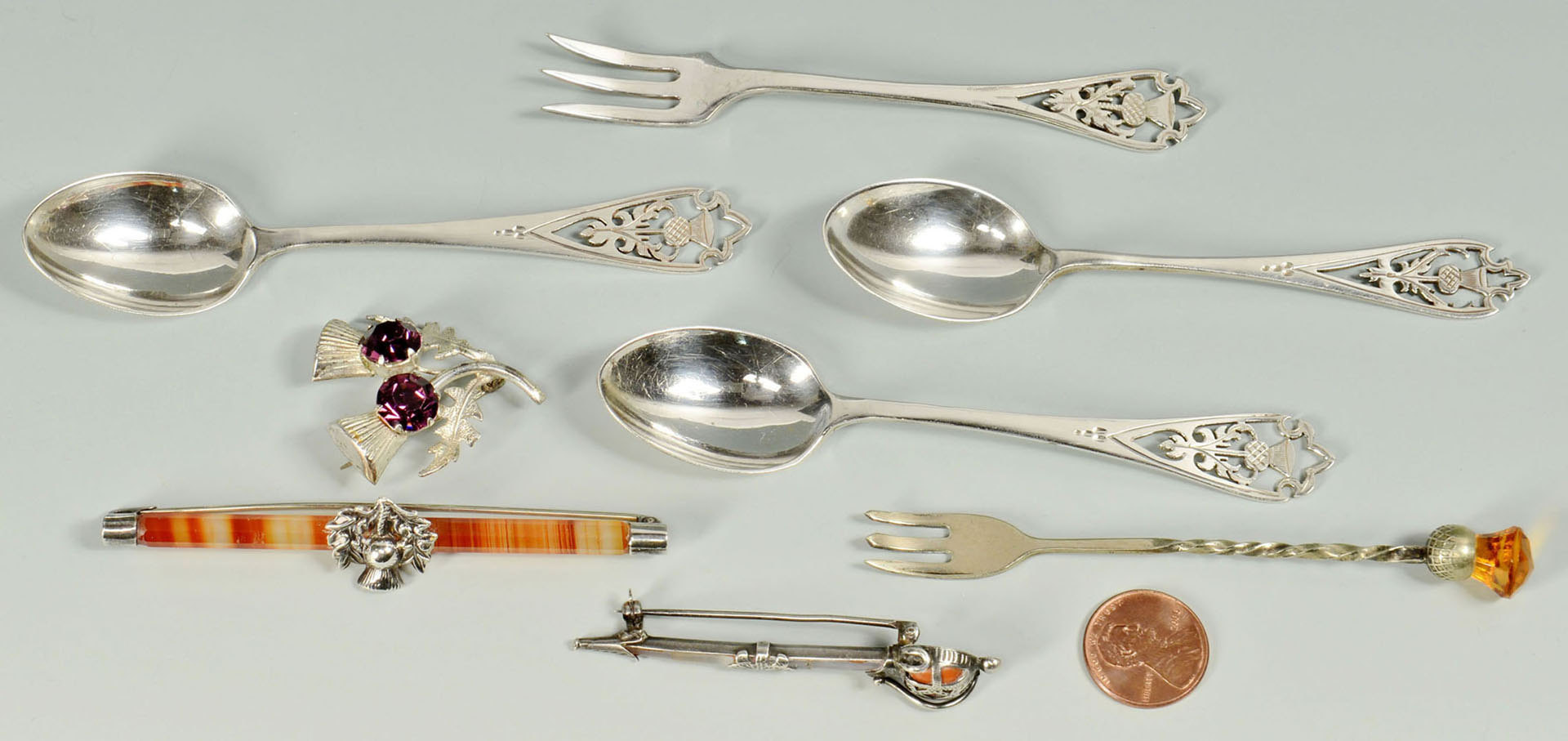 Lot 503: Scottish style Jewelry and Silverware