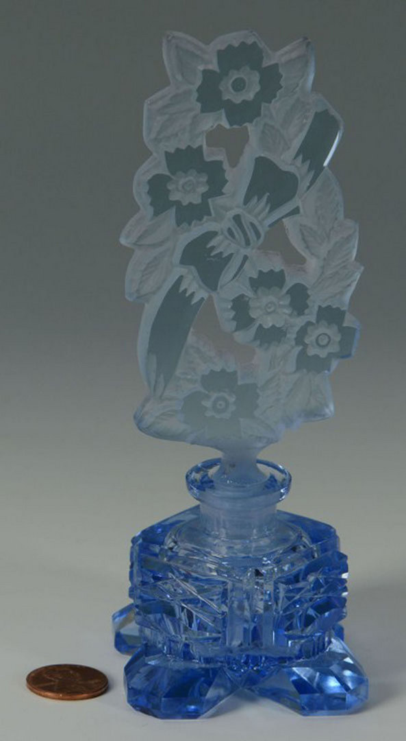 Lot 509: 2 Czechoslavakia Cut Crystal Perfume Bottles