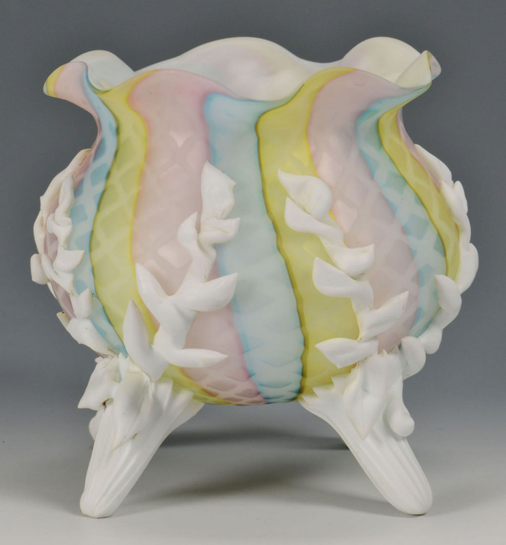 Lot 512: Rainbow Satin Glass Bride's Bowl