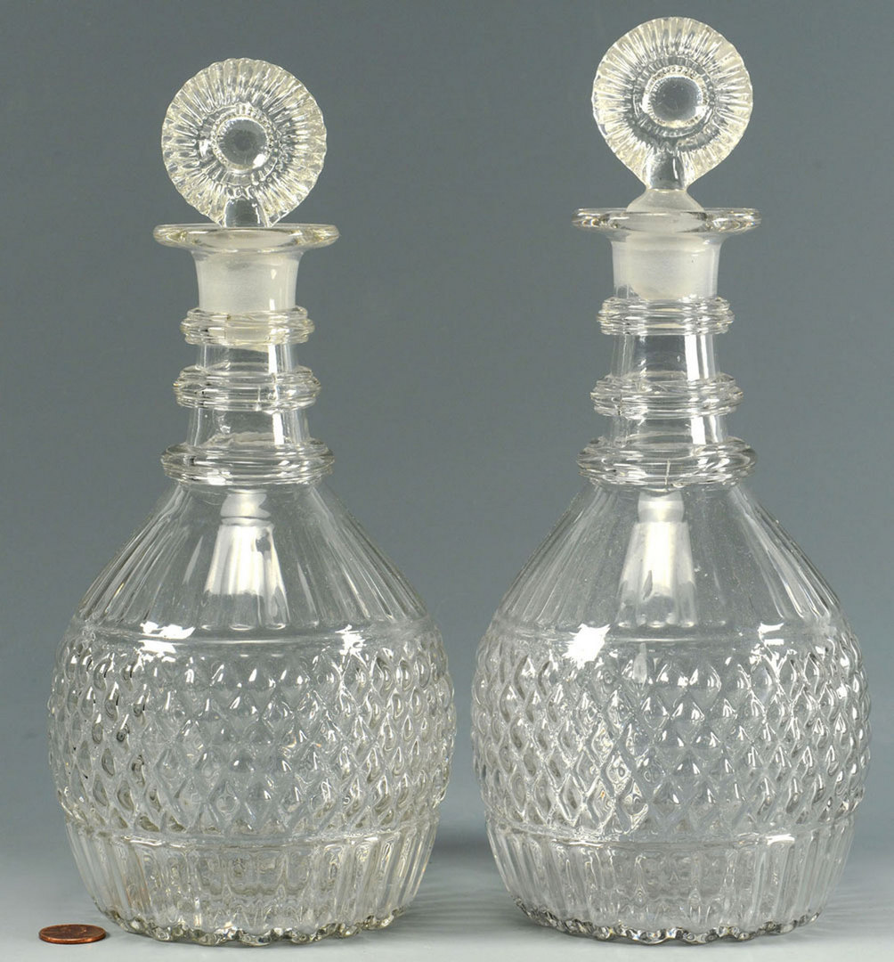 Lot 513: Pr. Blown & Cut Colorless Glass Decanters