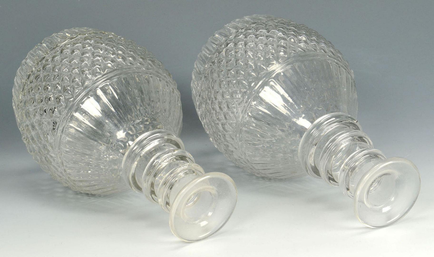 Lot 513: Pr. Blown & Cut Colorless Glass Decanters