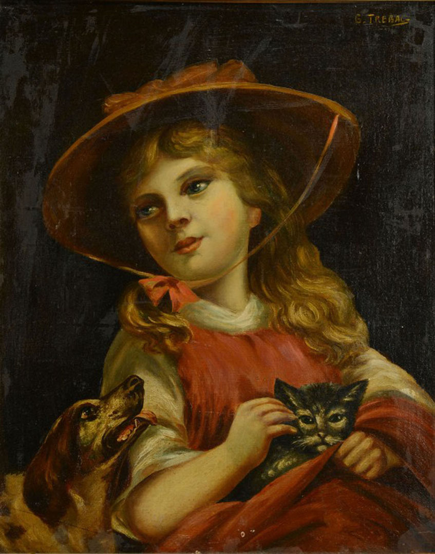 Lot 516: Two 20th century Animal Themed Oil Paintings