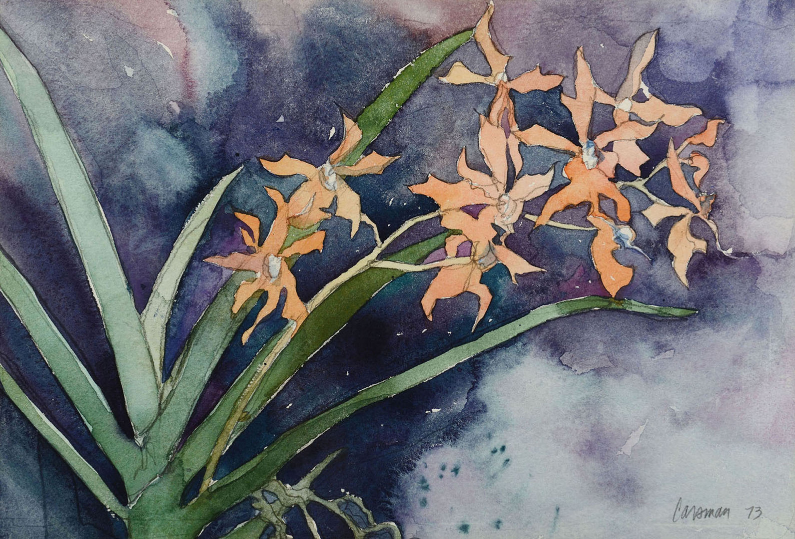 Lot 517: Attr. Jon Carsman, floral watercolor