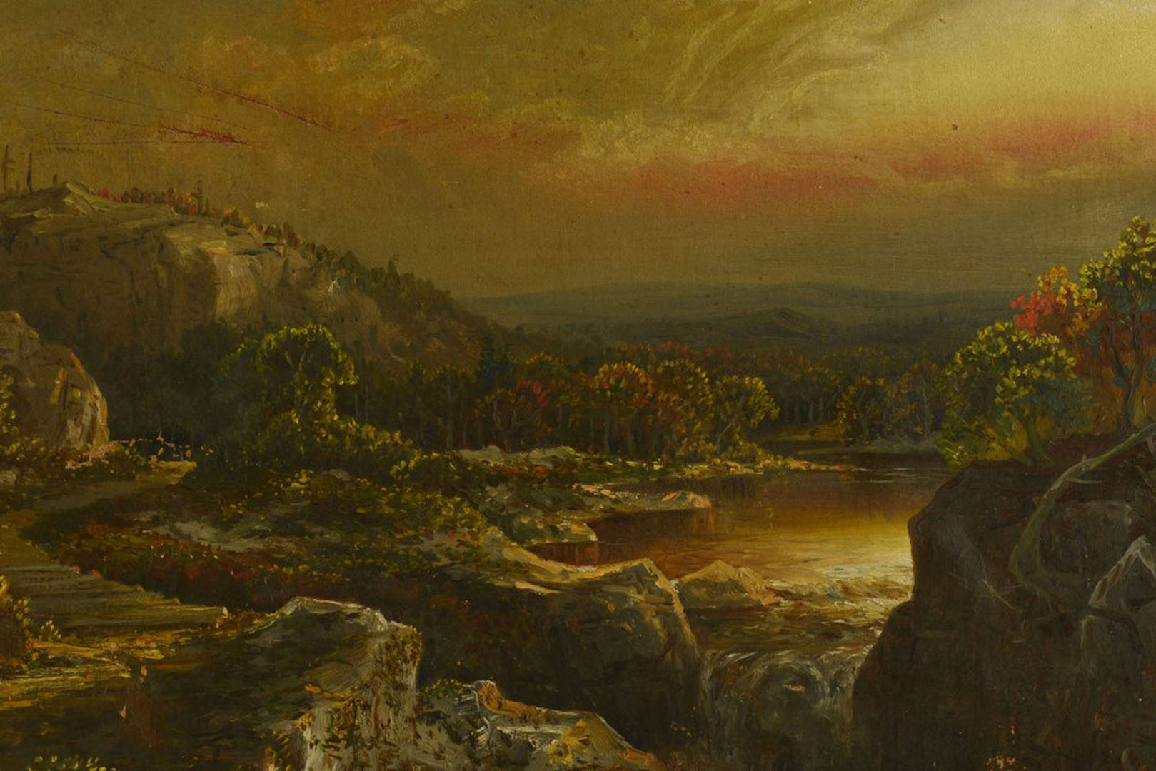 Lot 519: Hudson School Landscape, signed A Oliveira 1884