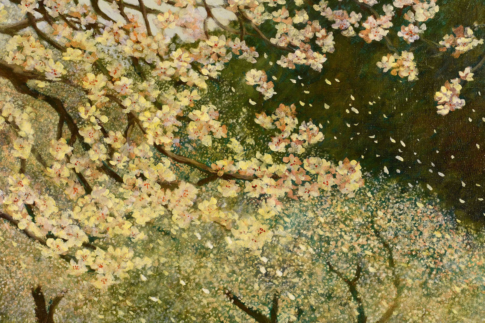 """Lot 521: Helen Caswell Oil on Canvas, """"Blossom Time"""""""