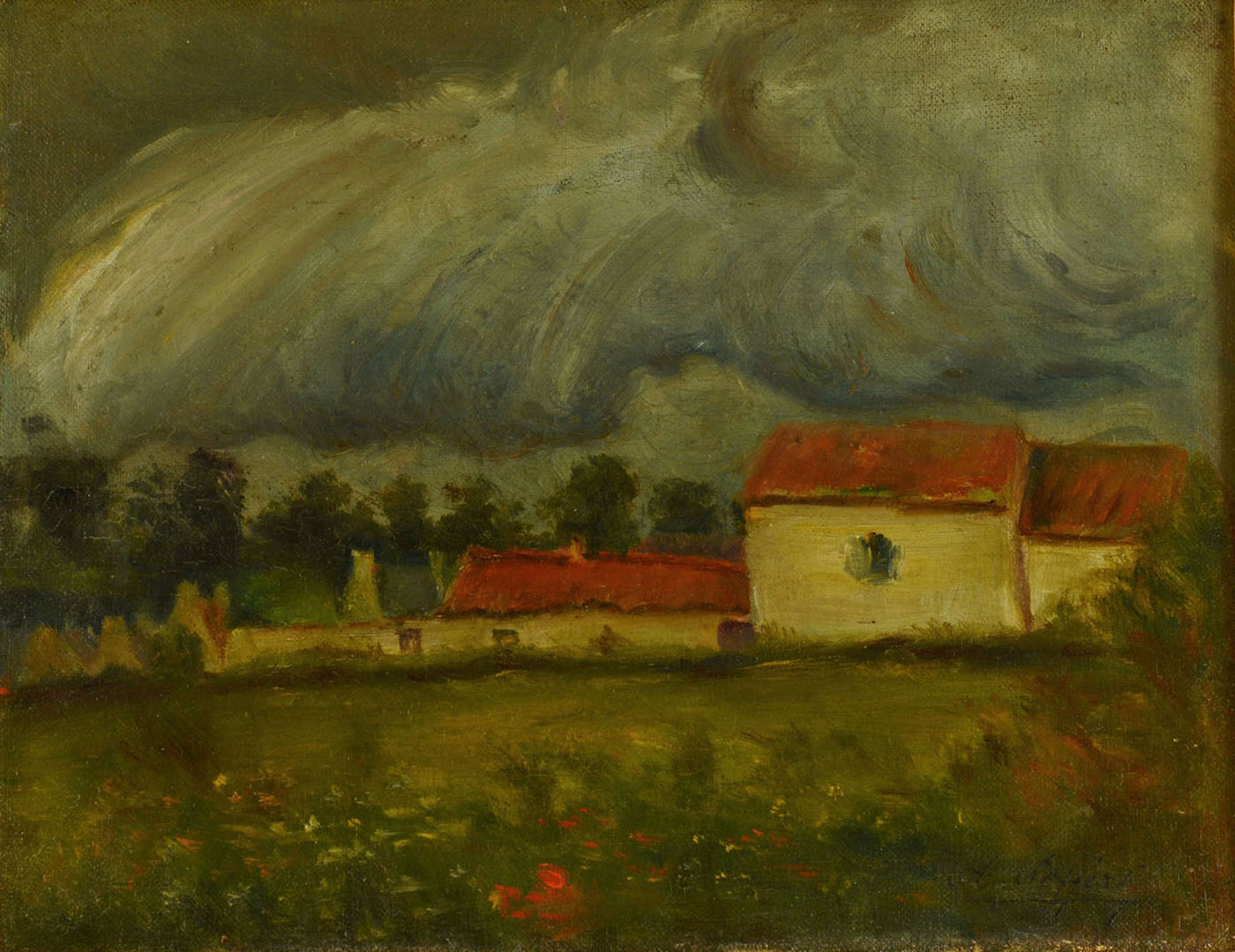 Lot 522: French Landscape Painting, oil on board, early 20t