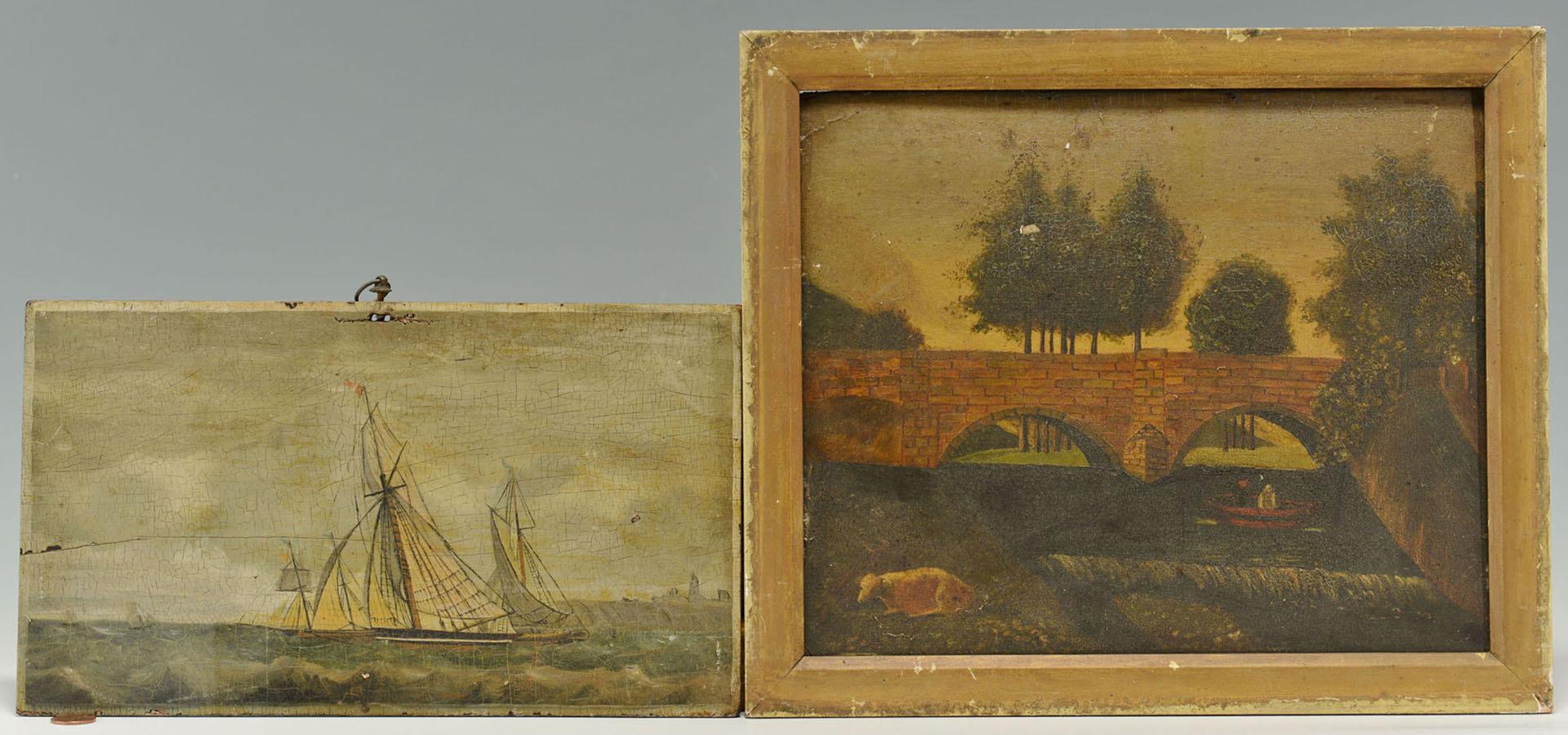 Lot 523: Two Folk Art oil on Board Paintings