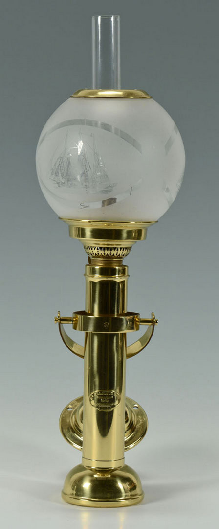 Lot 525: Danish Brass Wall Mounted Ship's Lamp