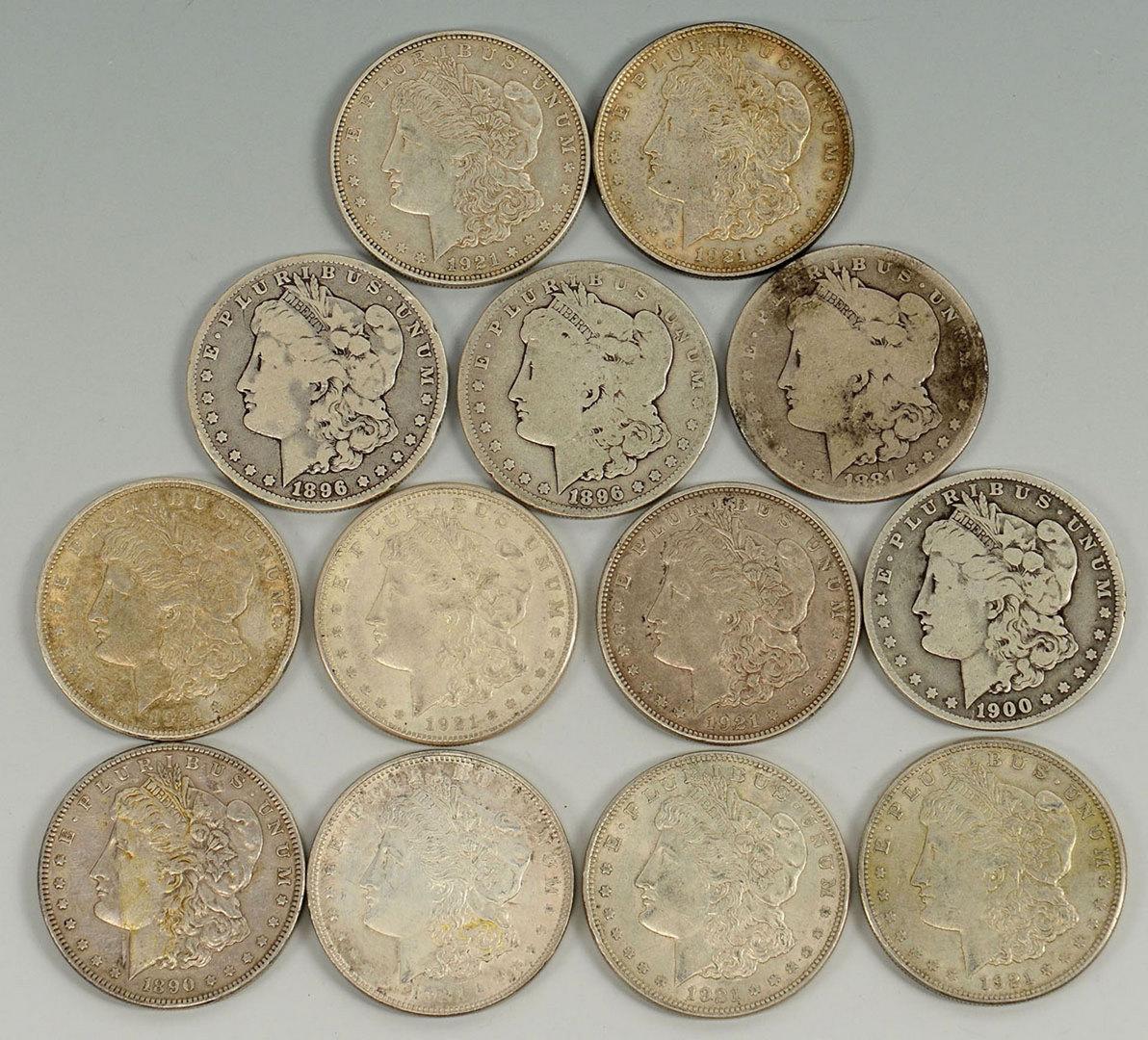 Lot 527: Grouping of 13 Morgan Silver Dollars