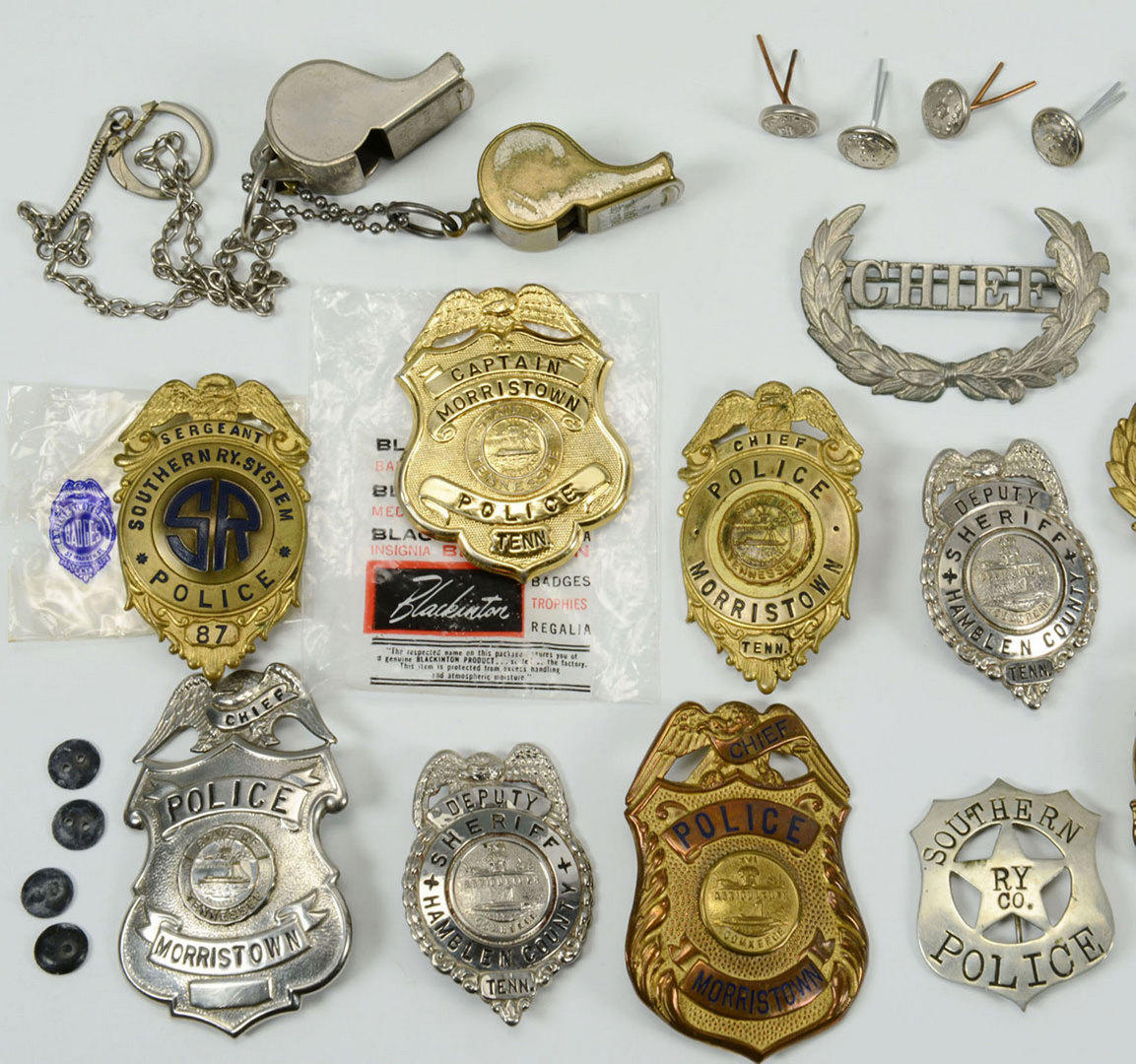 Lot 529: Group of Policemen Badges and Accoutrements