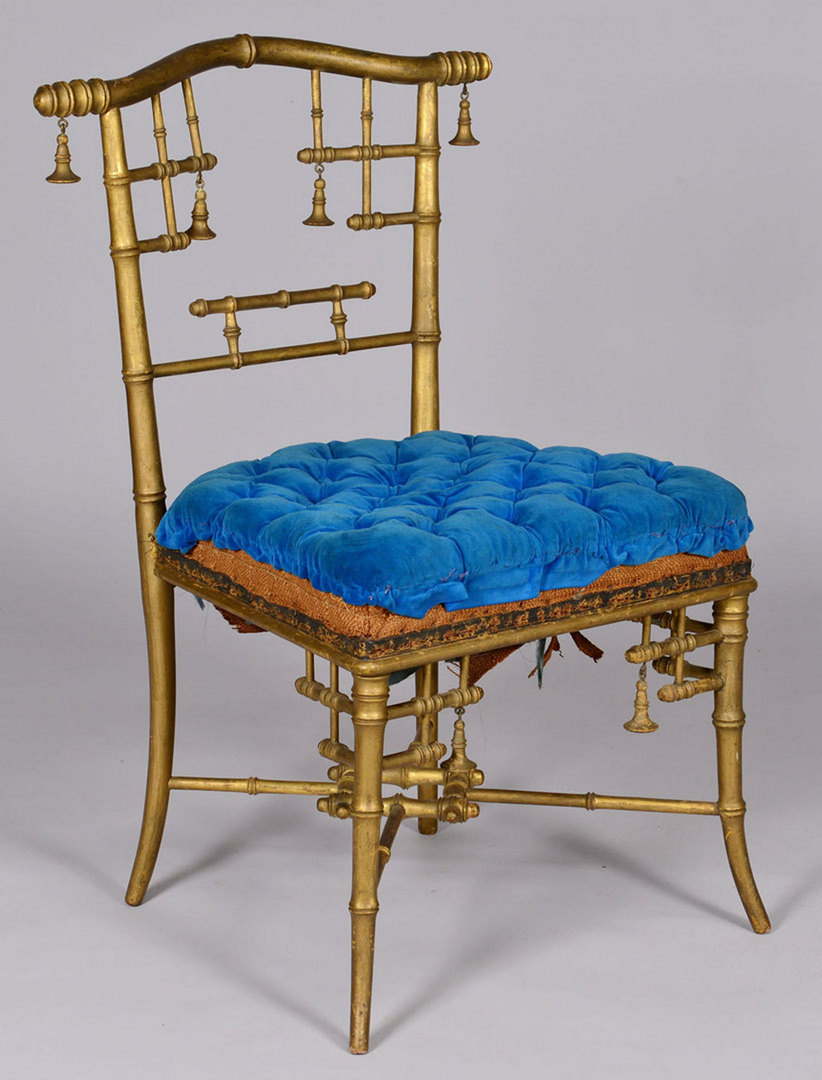 Lot 52: Gold Gilt Faux Bamboo Chair attributed to Herter