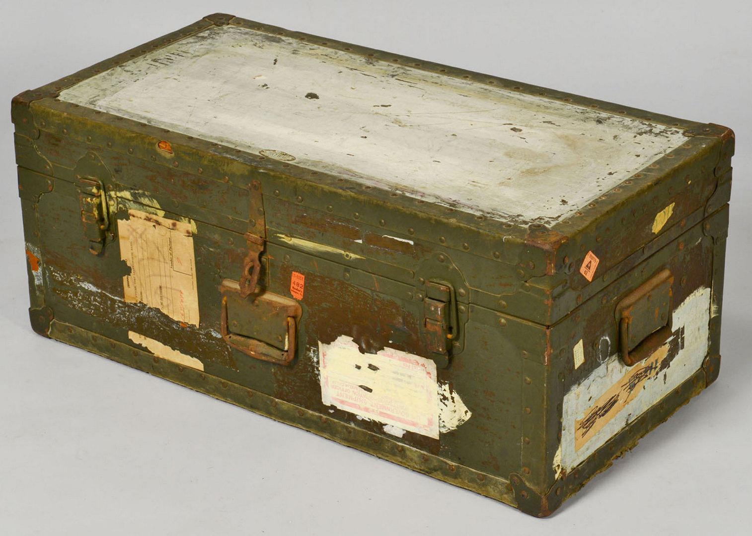 Lot 531: Military Items: Field Desk, Foot Locker, Shells