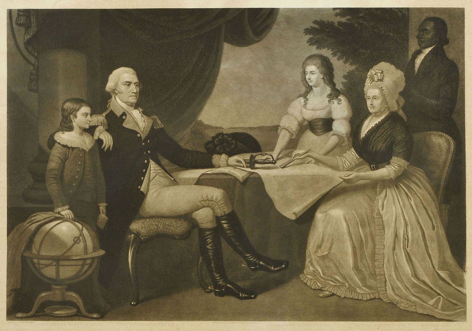 Lot 538: Geo. Washington & Family mezzotint, after Savage