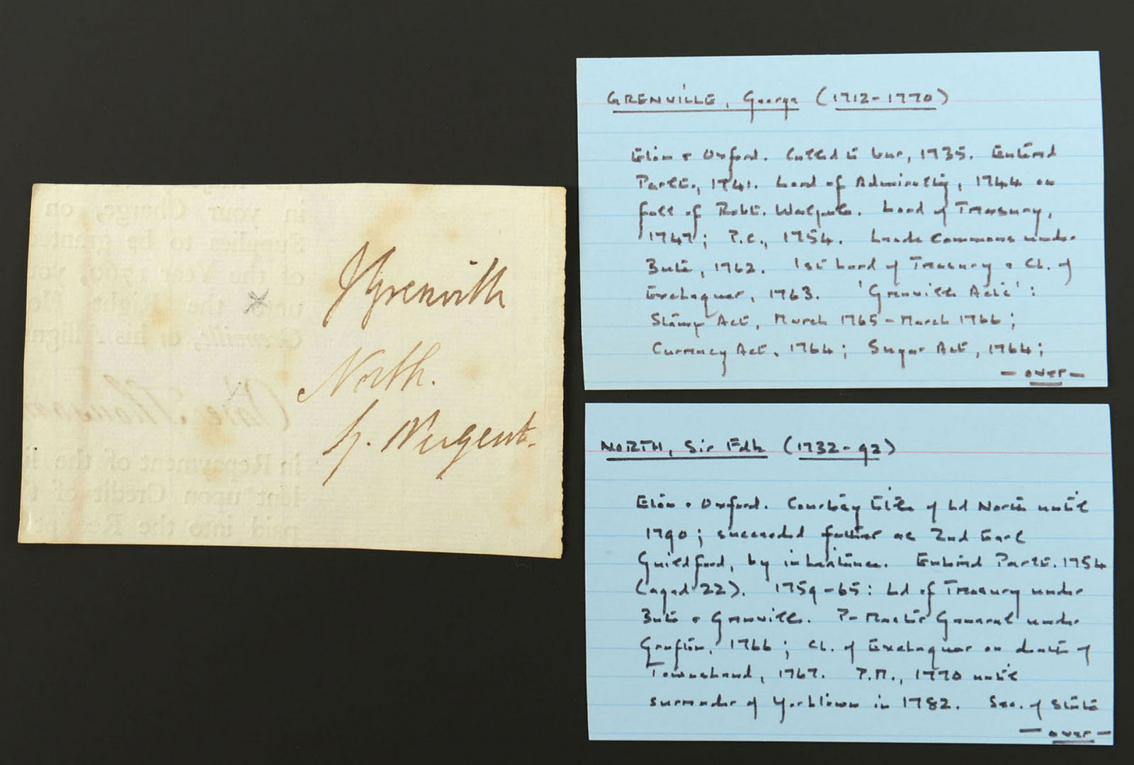 Lot 539: Clipped English Signatures, Revolutionary War Era
