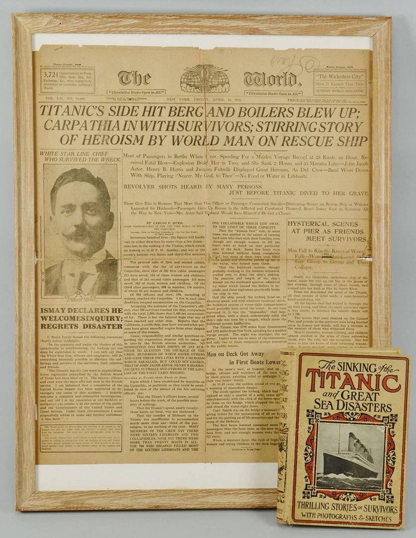 Lot 543: Titanic Memorabilia: Newspaper and Book