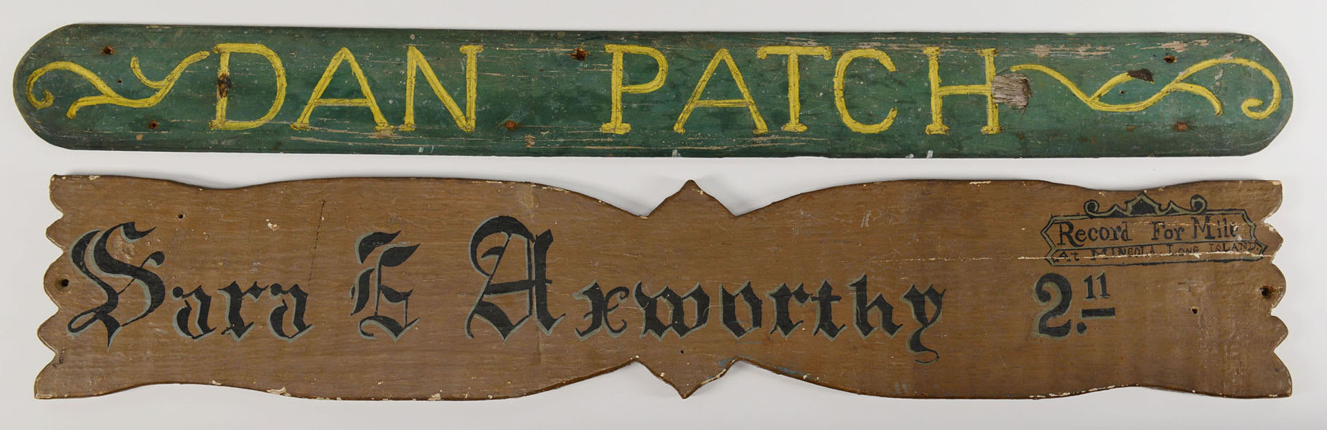 Lot 545: 2 Painted Horse Stall Signs inc. Dan Patch
