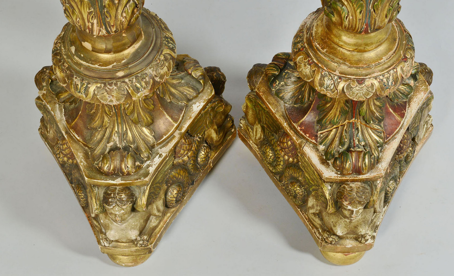 Lot 54: Baroque style carved and polychromed pedestals